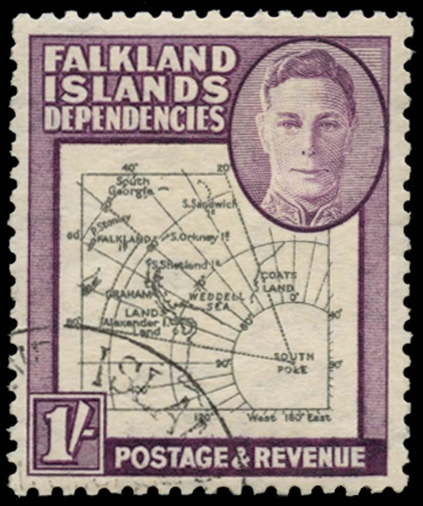 FALKLAND ISLAND DEPS 1946  SGG8c Used Thick Map 1s SOUTH POKE
