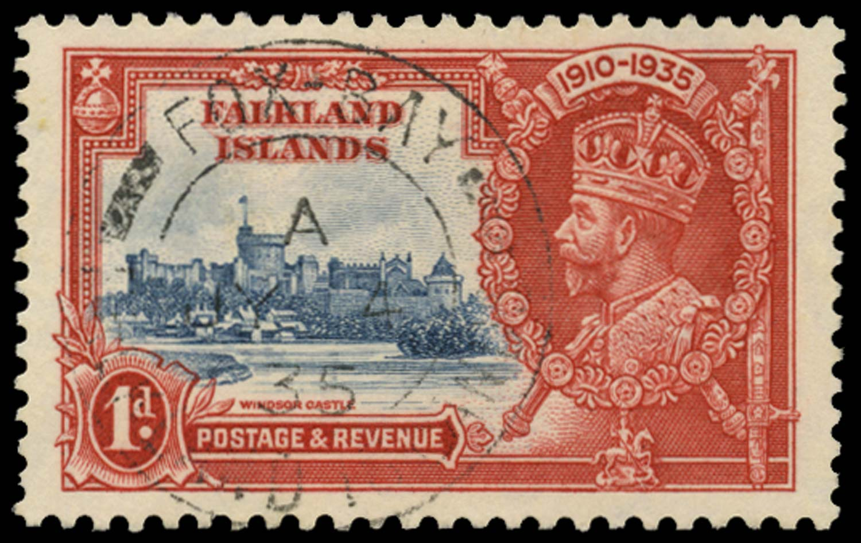 FALKLAND ISLANDS 1935  SG139e Cancel 1d Double flagstaff Fox Bay cds