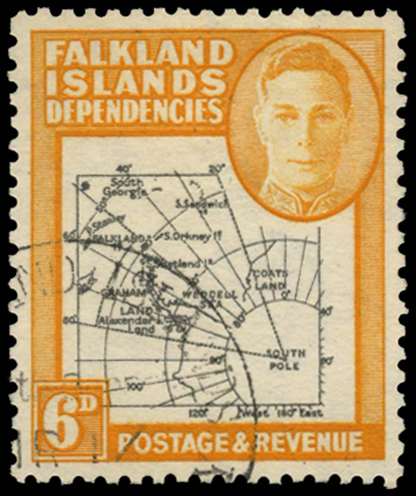 FALKLAND ISLAND DEPS 1946  SGG6aa Used Thick Map 6d Extra Island