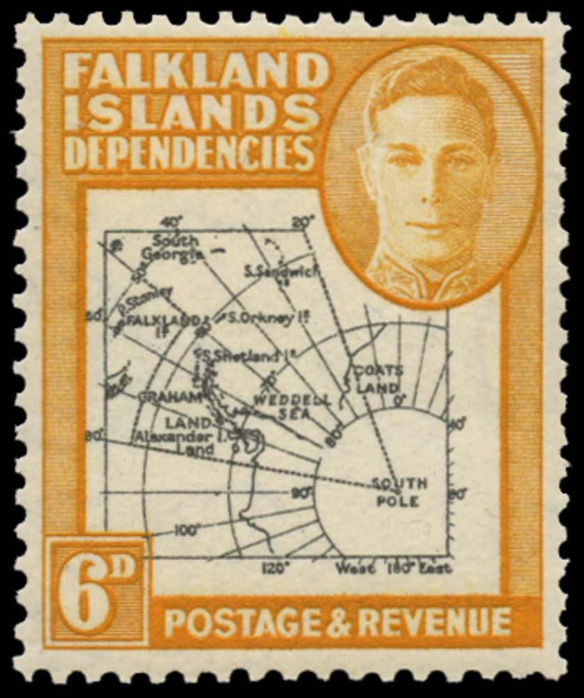 FALKLAND ISLAND DEPS 1946  SGG6aa Mint Thick Map 6d Extra Island