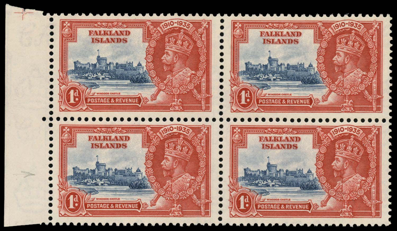 FALKLAND ISLANDS 1935  SG139d Mint 1d Flagstaff on right-hand turret
