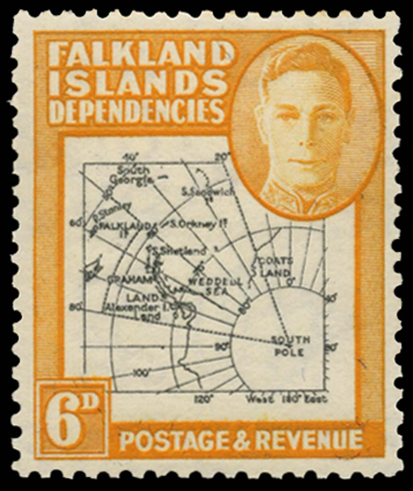 FALKLAND ISLAND DEPS 1946  SGG6b Mint Thick Map 6d Missing I