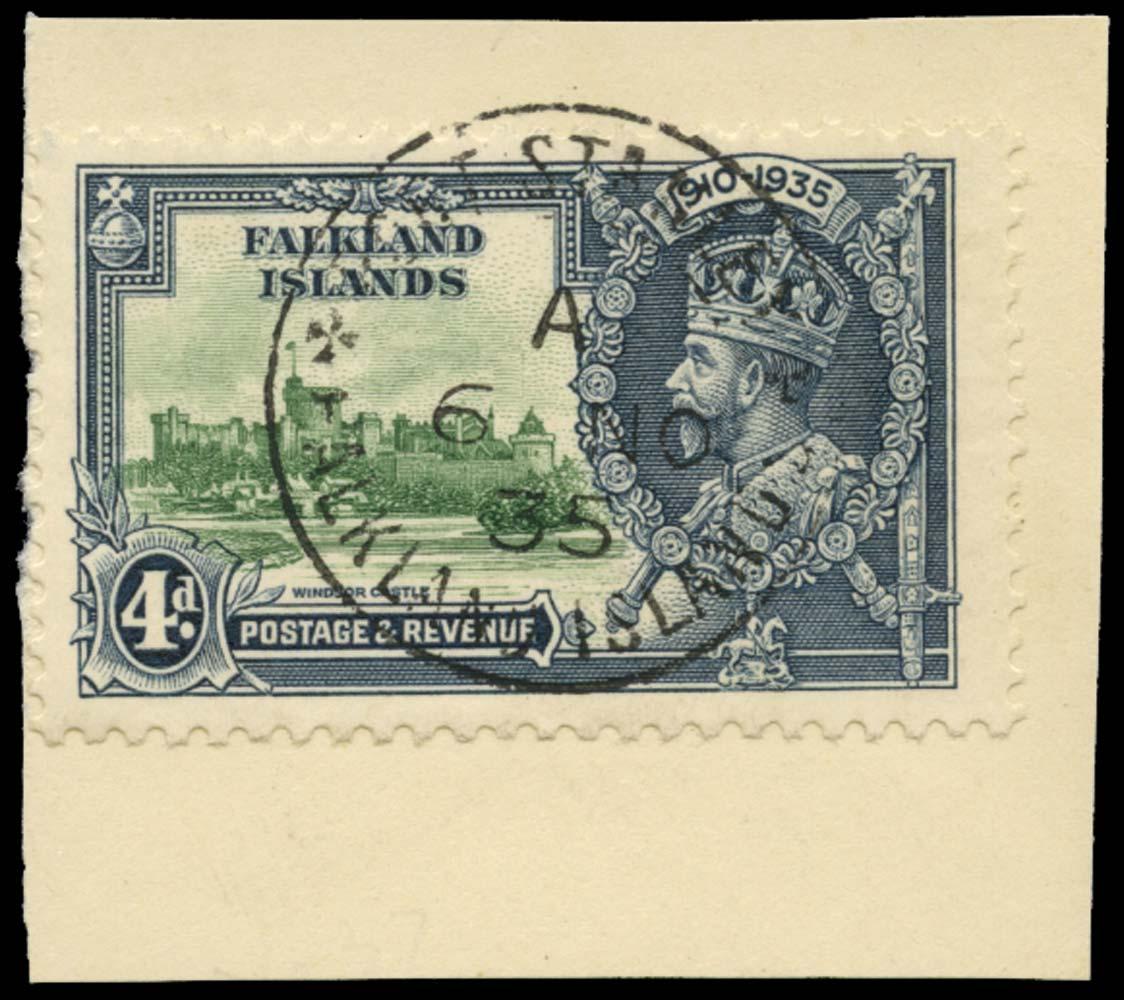 FALKLAND ISLANDS 1935  SG141d Used 4d Flagstaff on turret