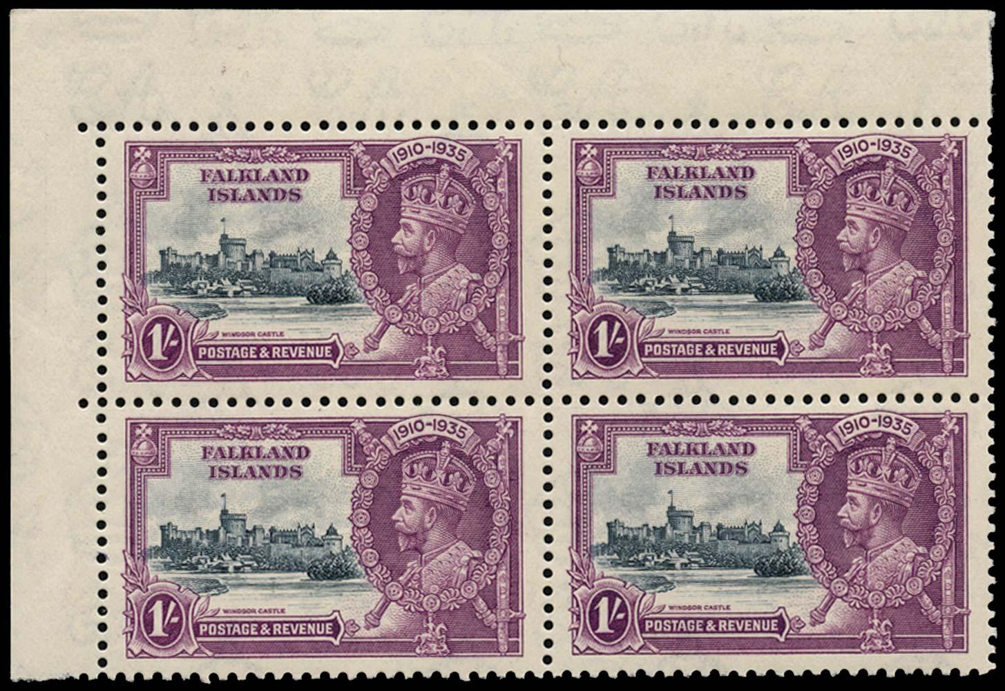FALKLAND ISLANDS 1935  SG142b Mint 1s Short extra flagstaff