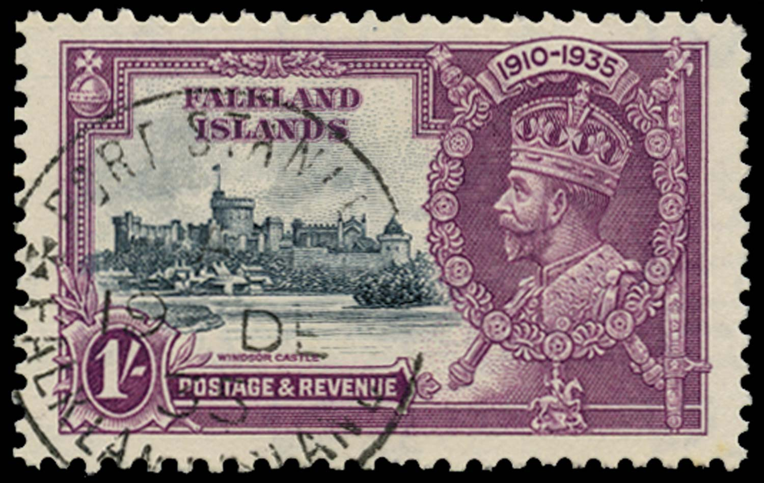 FALKLAND ISLANDS 1935  SG142b Used 1s Short extra flagstaff