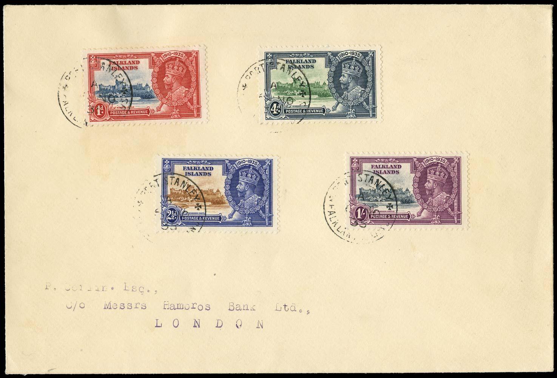 FALKLAND ISLANDS 1935  SG139/42a Cover 1s Extra flagstaff
