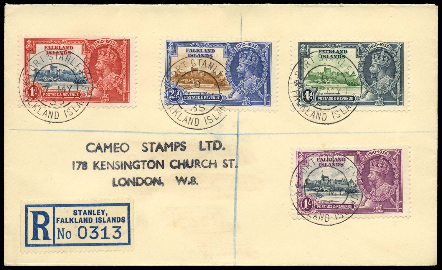 FALKLAND ISLANDS 1935  SG139, 140b, 141, 142d Cover 2½d and 1s variety on FDC