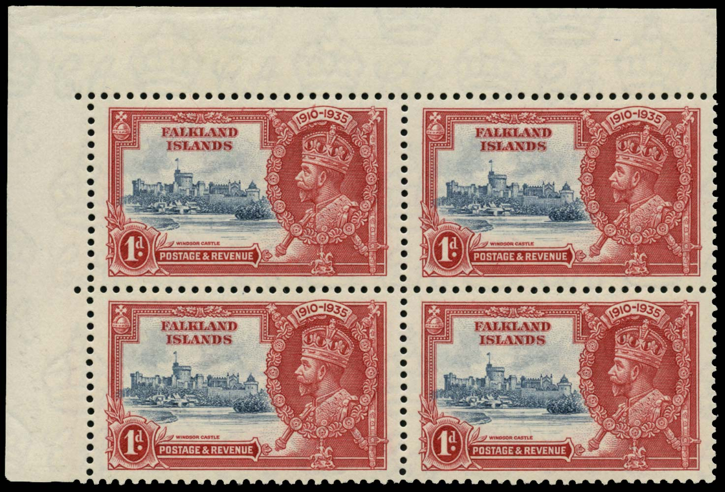 FALKLAND ISLANDS 1935  SG139/b Mint 1d Short Extra Flagstaff