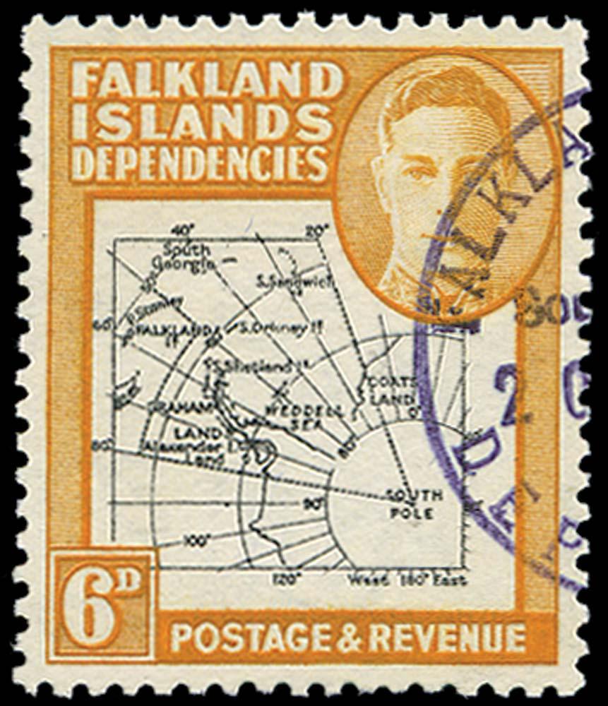FALKLAND ISLAND DEPS 1946  SGG6ea Used
