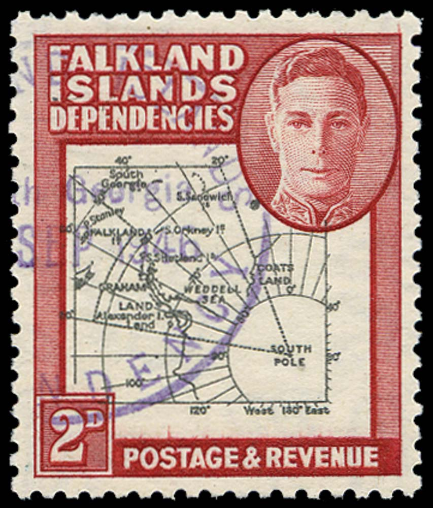 FALKLAND ISLAND DEPS 1946  SGG3d Used Thick Map 2d Extra Dot by Oval