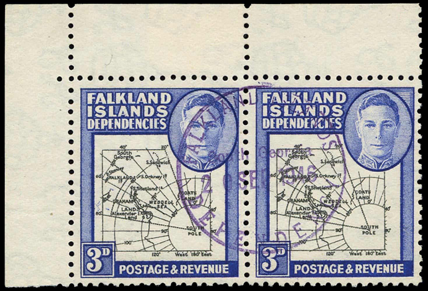 FALKLAND ISLAND DEPS 1946  SGG4/b Used