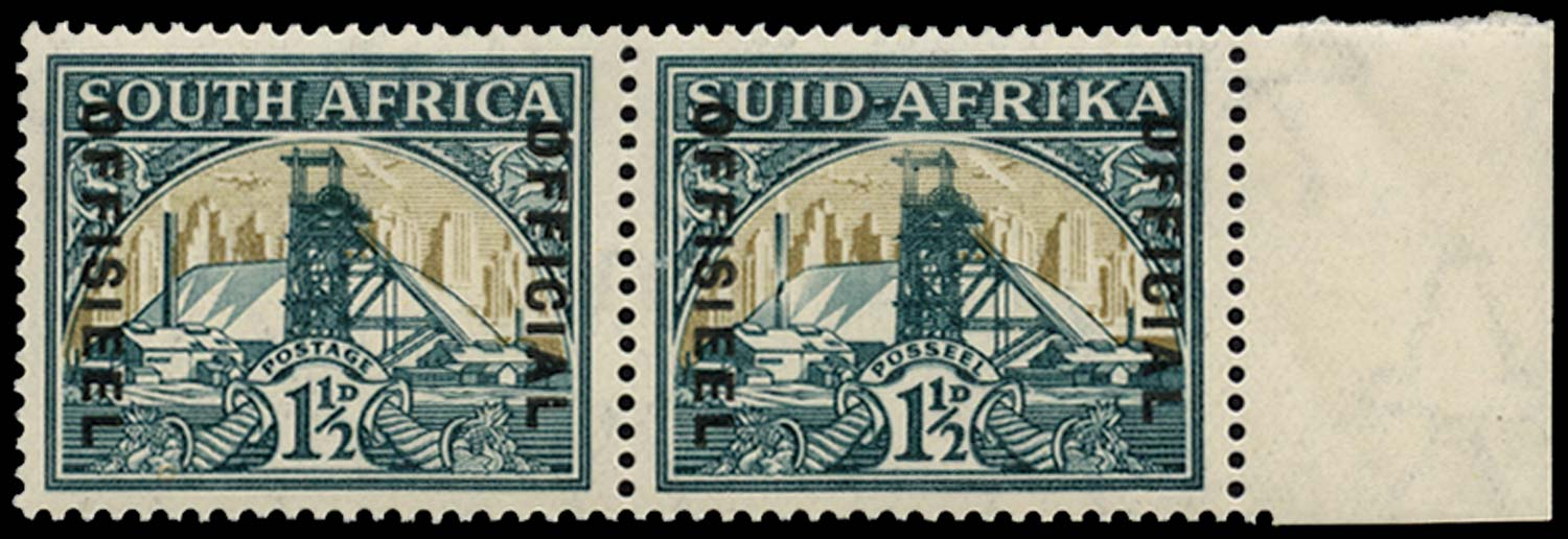 SOUTH AFRICA 1935-49  SGO22ab Official 1½d Broken chimney
