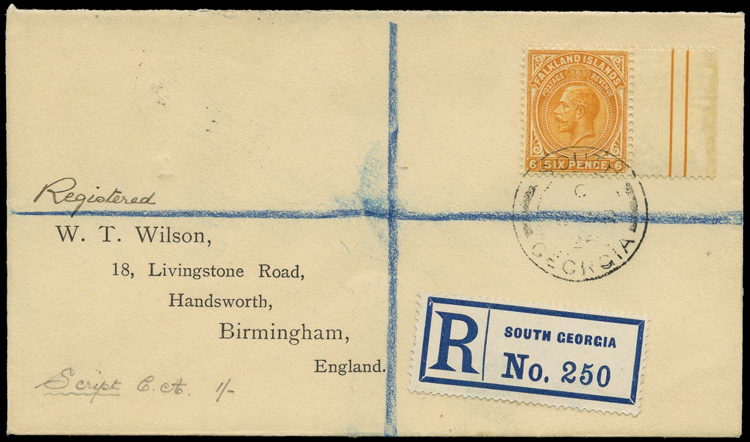 FALKLAND ISLAND DEPS 1926  SGZ40 Cover 6d used South Georgia