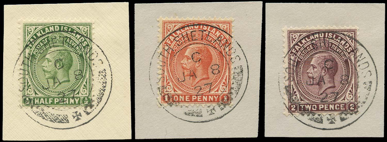 FALKLAND ISLAND DEPS 1921  SGZ141/3 Cancel ½d, 1d, 2d used South Shetlands