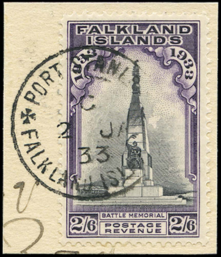 FALKLAND ISLANDS 1933  SG135 Used 2s6d first day usage