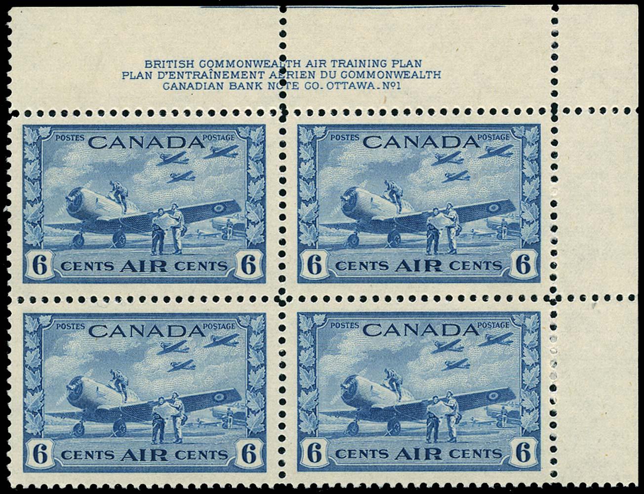 CANADA 1942  SG399 Mint War Effort 6c blue airmail unmounted