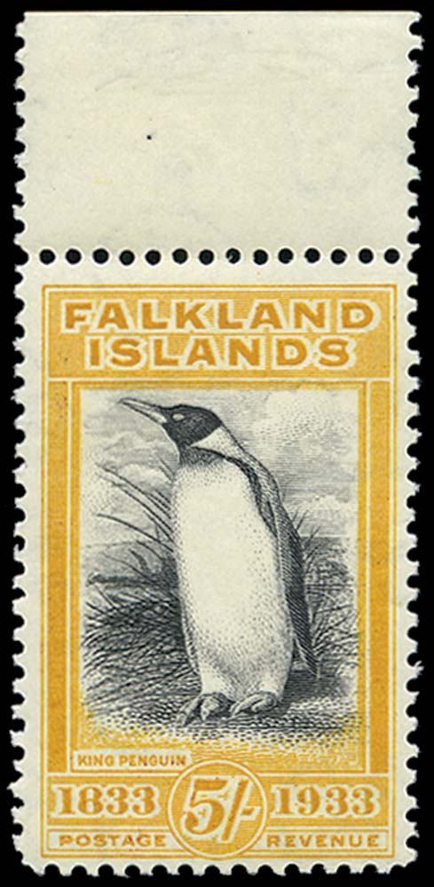FALKLAND ISLANDS 1933  SG136a Mint 5s Penguin second printing