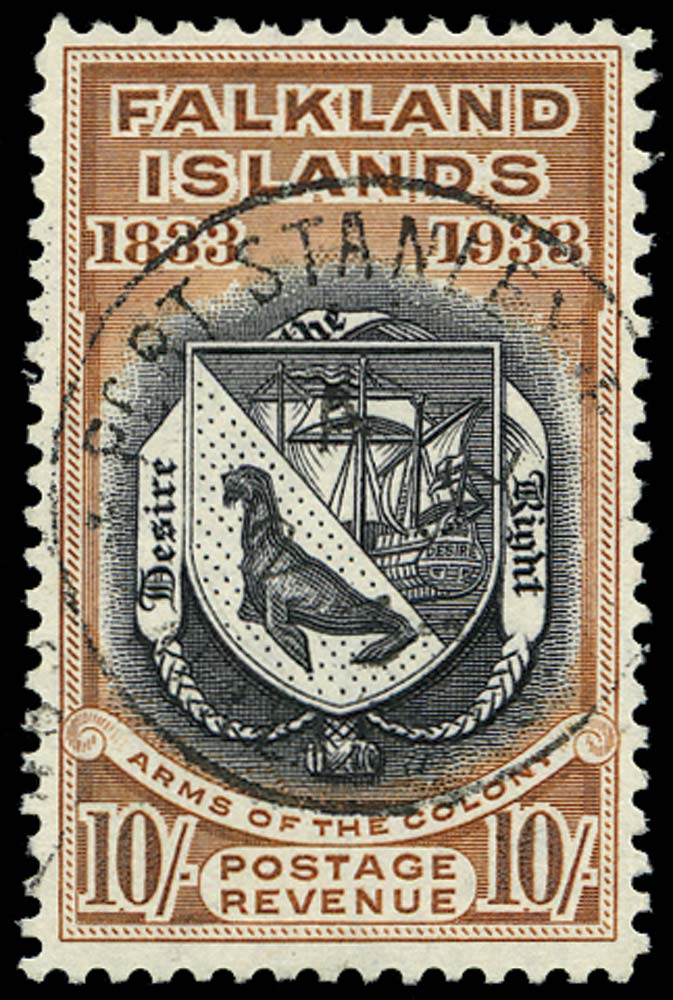 FALKLAND ISLANDS 1933  SG137 Used 10s Arms