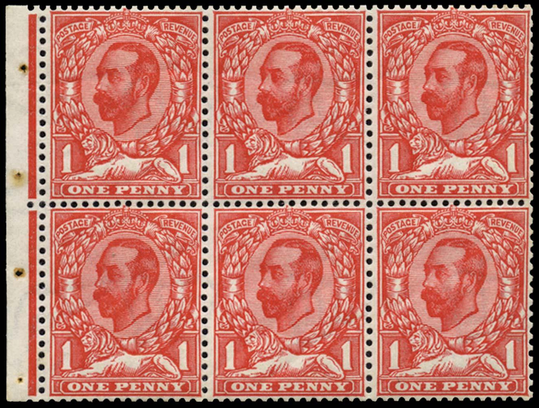 GB 1912  SG332a Booklet pane
