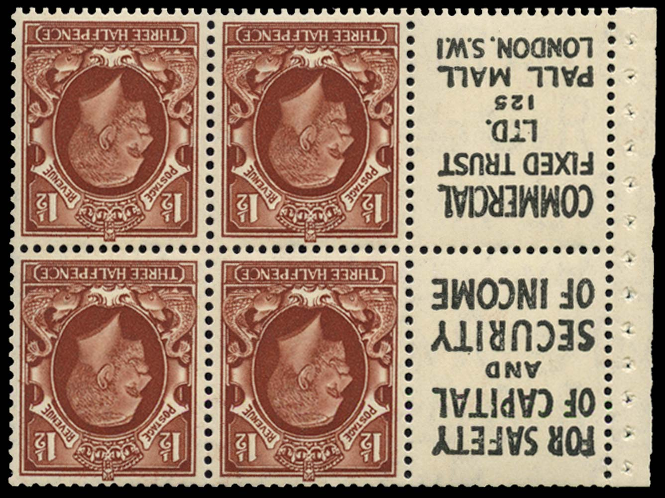 GB 1935  SG441e Booklet pane U/M advert pane