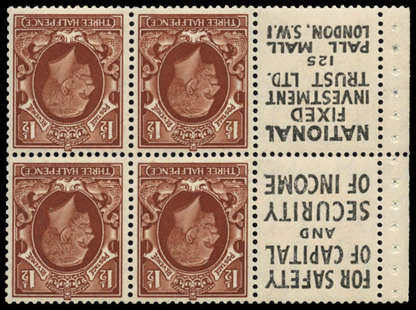 GB 1935  SG441ew Booklet pane Wmk Inverted advert pane