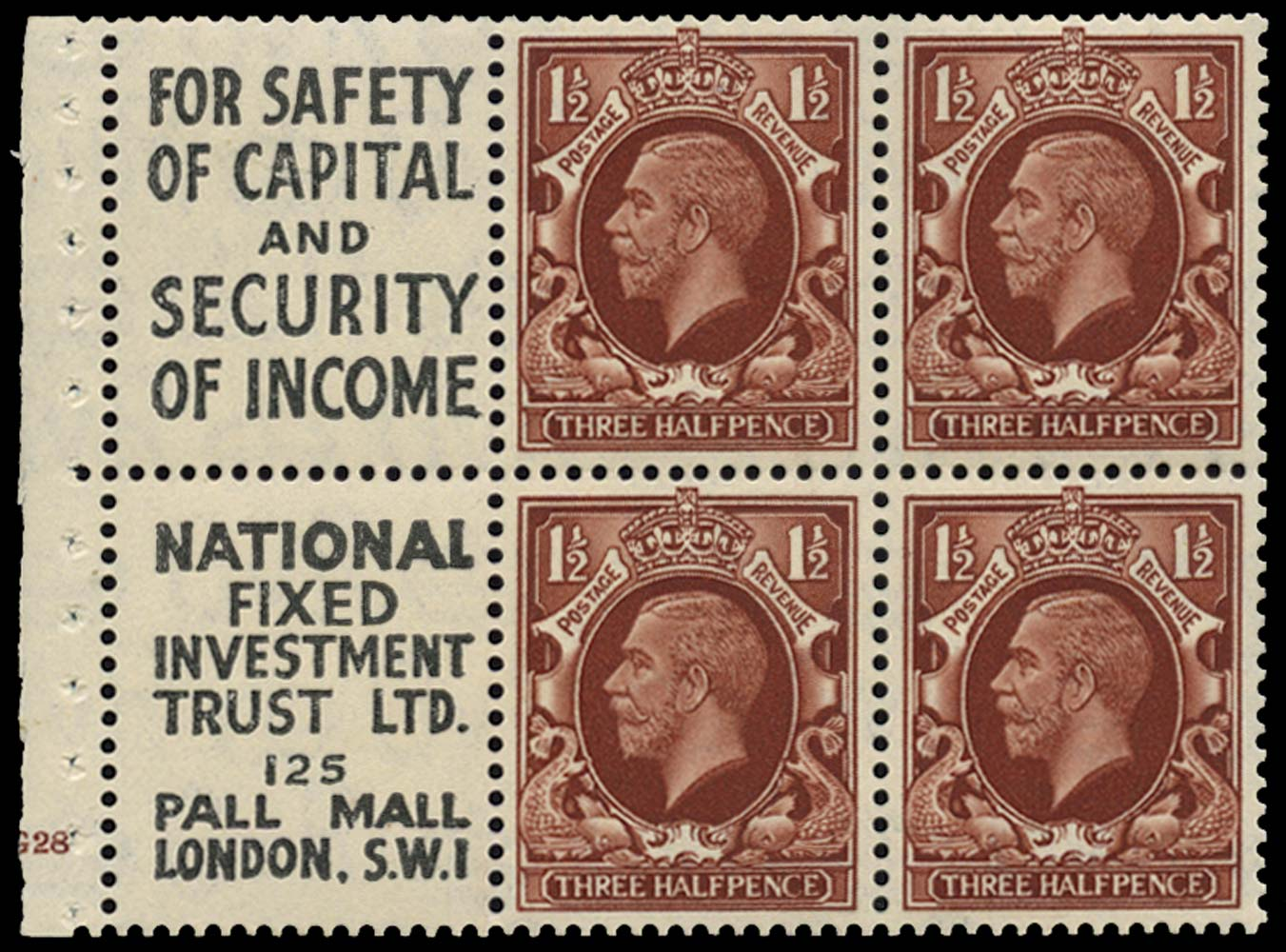 GB 1935  SG441e Booklet pane Cylinder G28 advert pane