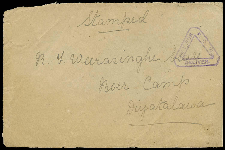 CEYLON c.1901 Cover Diyatalawa 'Not for POW' hadstamp