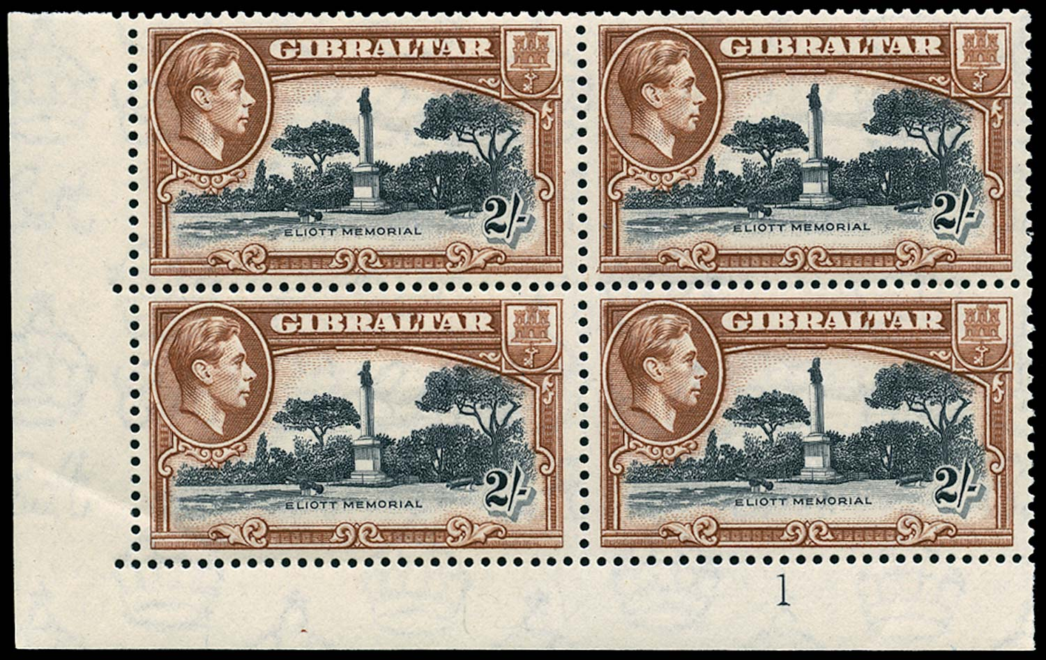 GIBRALTAR 1942  SG128b Mint 2s black and brown perf 13 unmounted