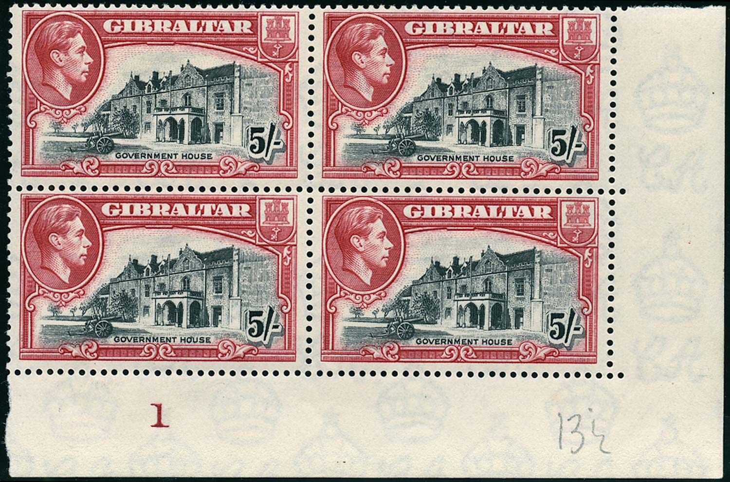 GIBRALTAR 1938  SG129a Mint 5s black and carmine perf 13½