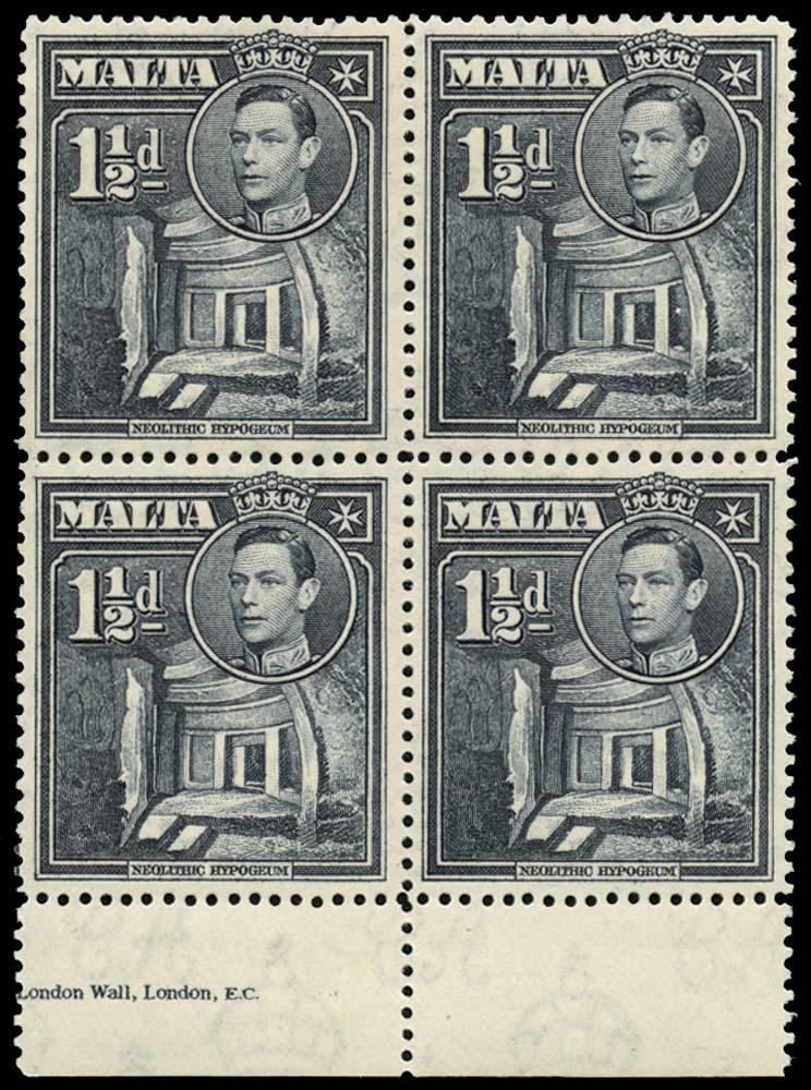 MALTA 1938  SG220ba Mint 1½d slate-black Broken cross