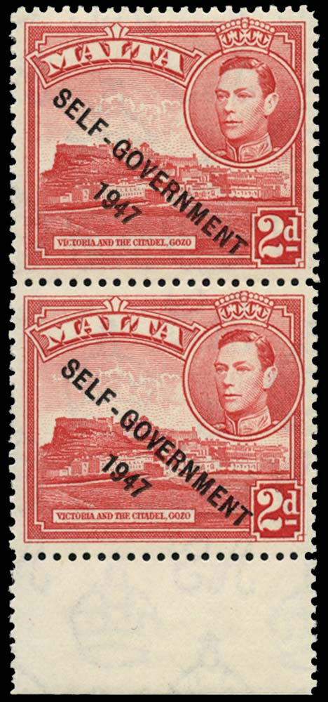 MALTA 1948  SG238/b Mint 2d scarlet Flag on Citadel