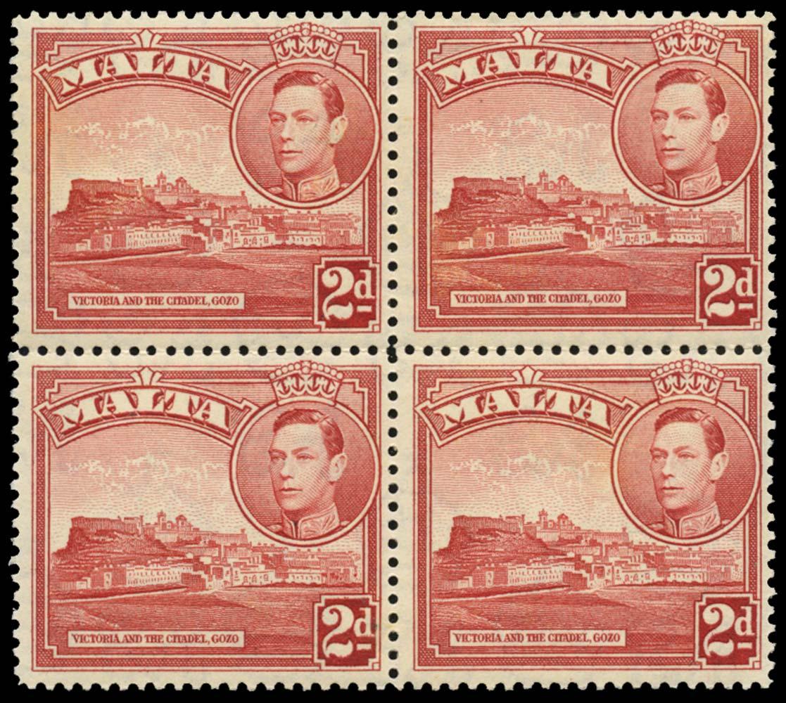 MALTA 1938  SG221ba Mint 2d scarlet Extra windows