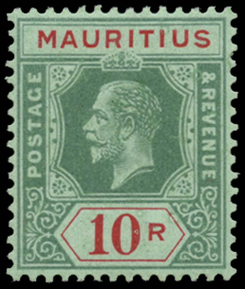 MAURITIUS 1913  SG204 Mint 10r green paper with blue-green back