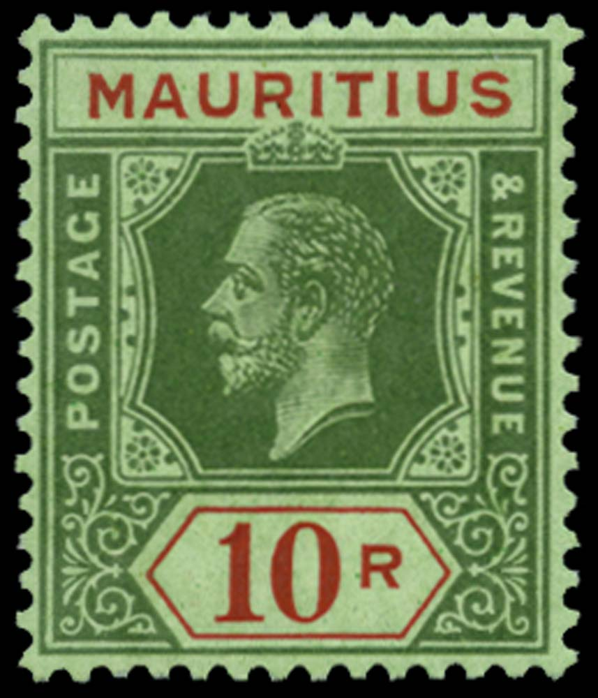 MAURITIUS 1913  SG204c Mint 10r emerald paper with emerald back