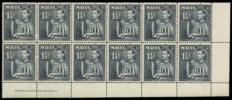 MALTA 1938  SG220ba Mint 1½d slate Broken Cross
