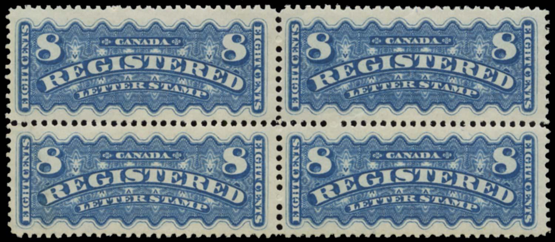 CANADA 1875  SGR8 Mint 8c registration stamp block of 4