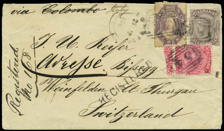 TASMANIA 1881  SG139, 156a, 158 Cover
