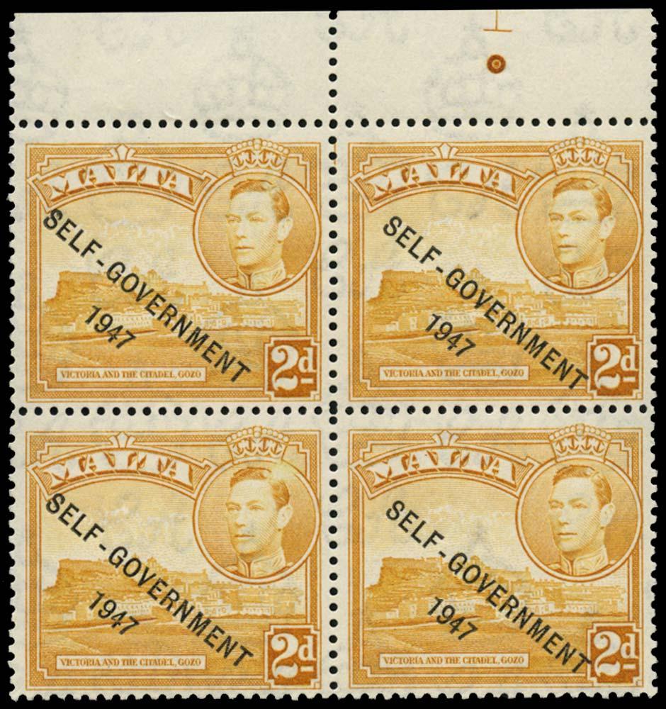 MALTA 1953  SG238ca Mint 2d yellow-ochre Halation flaw