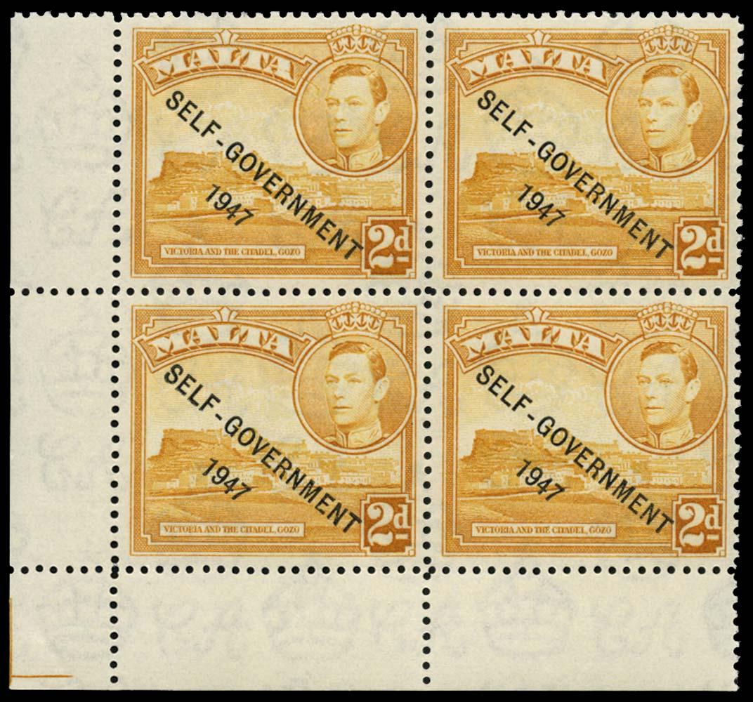 MALTA 1948  SG238cc Mint 2d yellow-ochre Cracked Plate