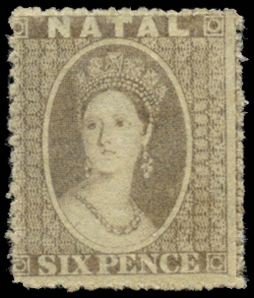 NATAL 1861  SG13 Mint 6d grey no watermark rough perf