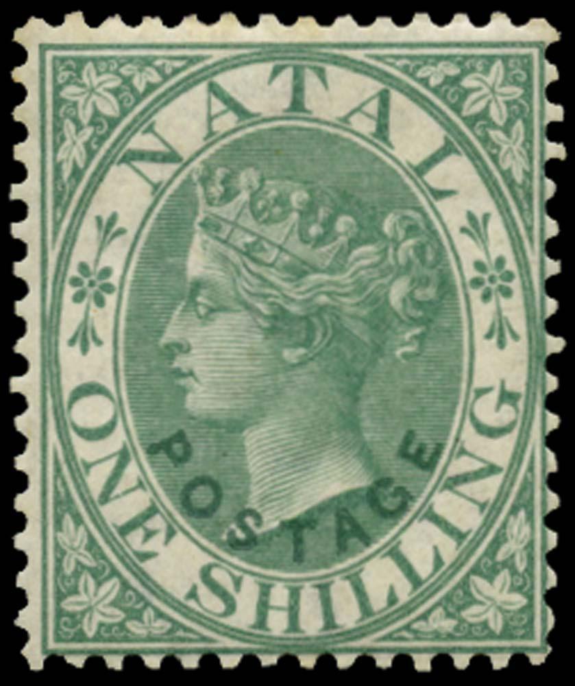 NATAL 1870  SG59 Mint 1s green type 8 overprint