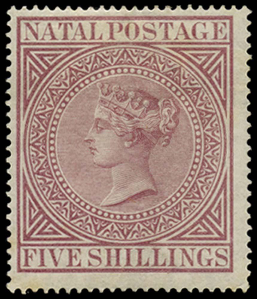 NATAL 1874  SG71a Mint 5s maroon perf 15½x15