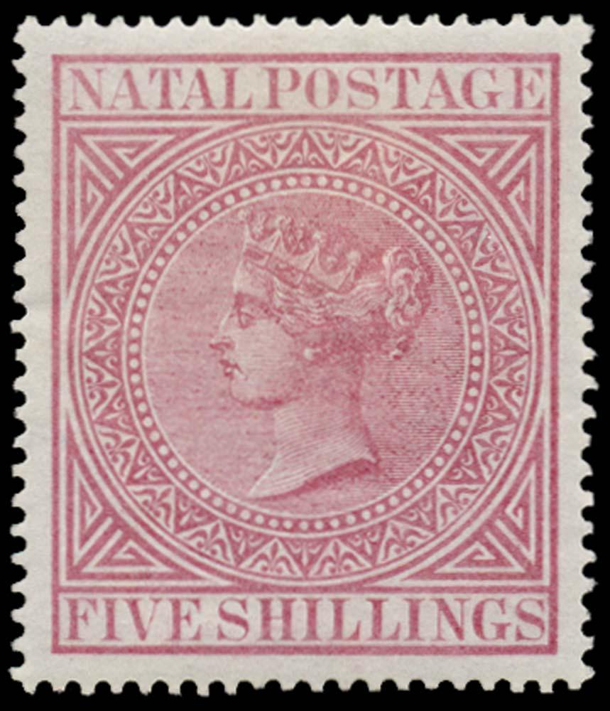 NATAL 1874  SG72 Mint 5s rose