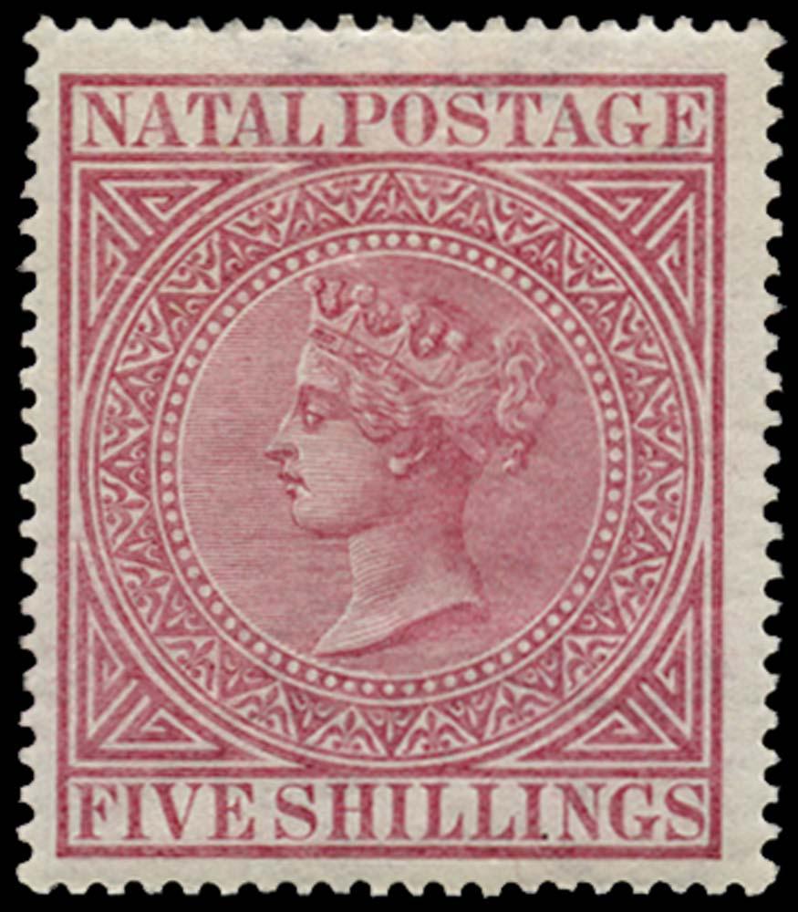 NATAL 1874  SG73 Mint 5s carmine