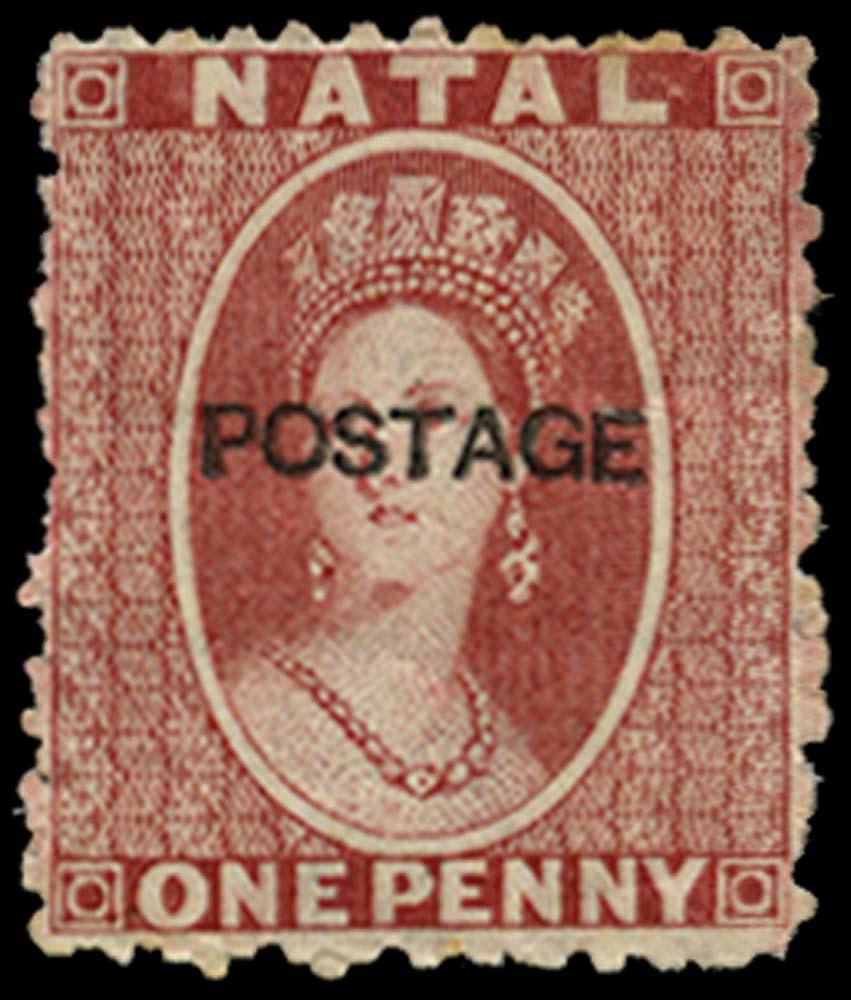 NATAL 1875  SG76 Mint 1d rose type 17 POSTAGE overprint