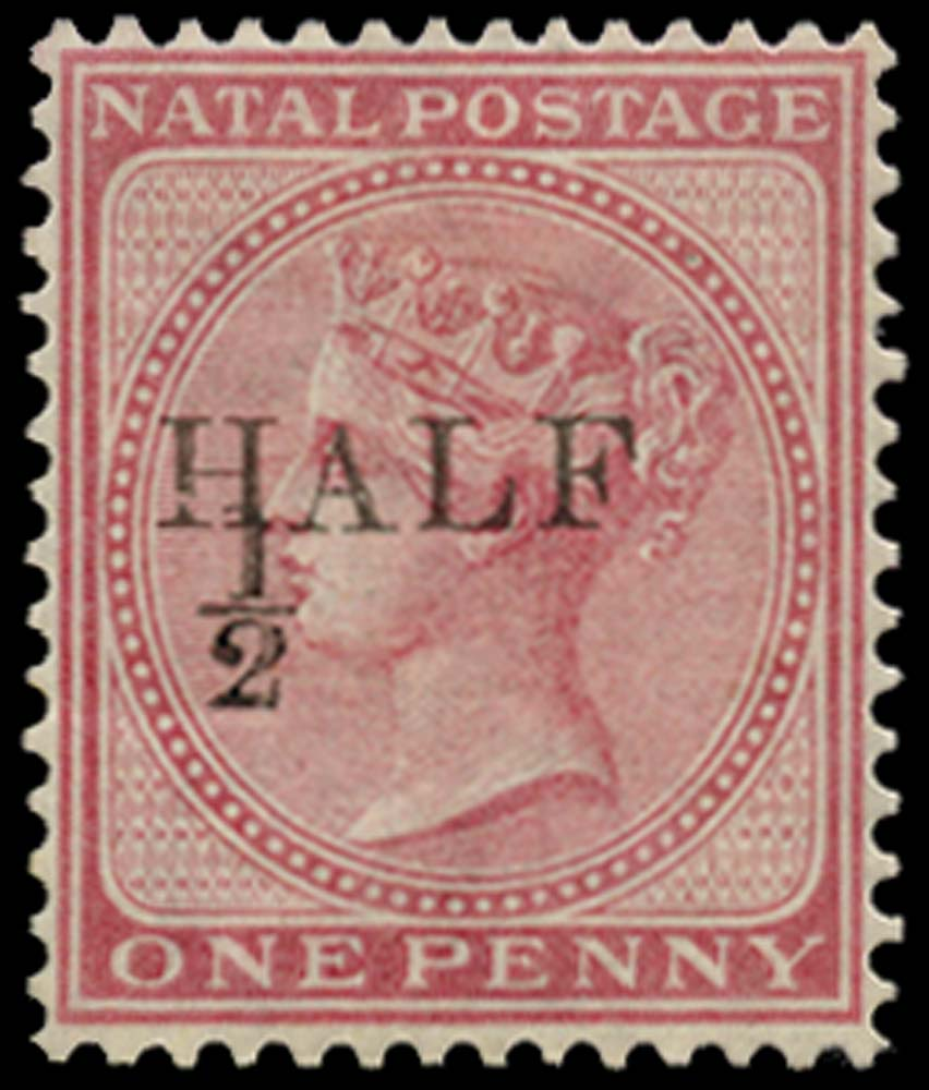 NATAL 1877  SG85 Mint ½d on 1d rose type 19(a) surcharge