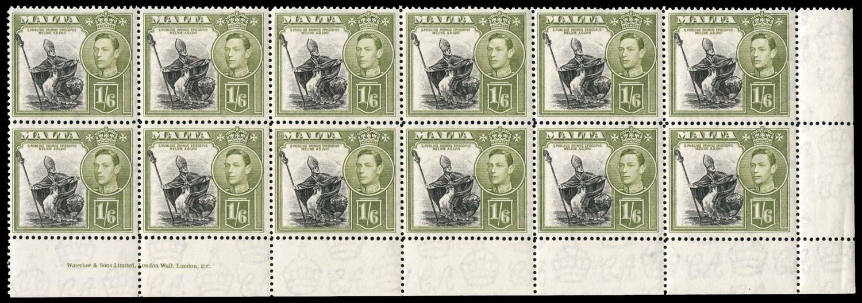 MALTA 1938  SG227 Mint 1s6d imprint block