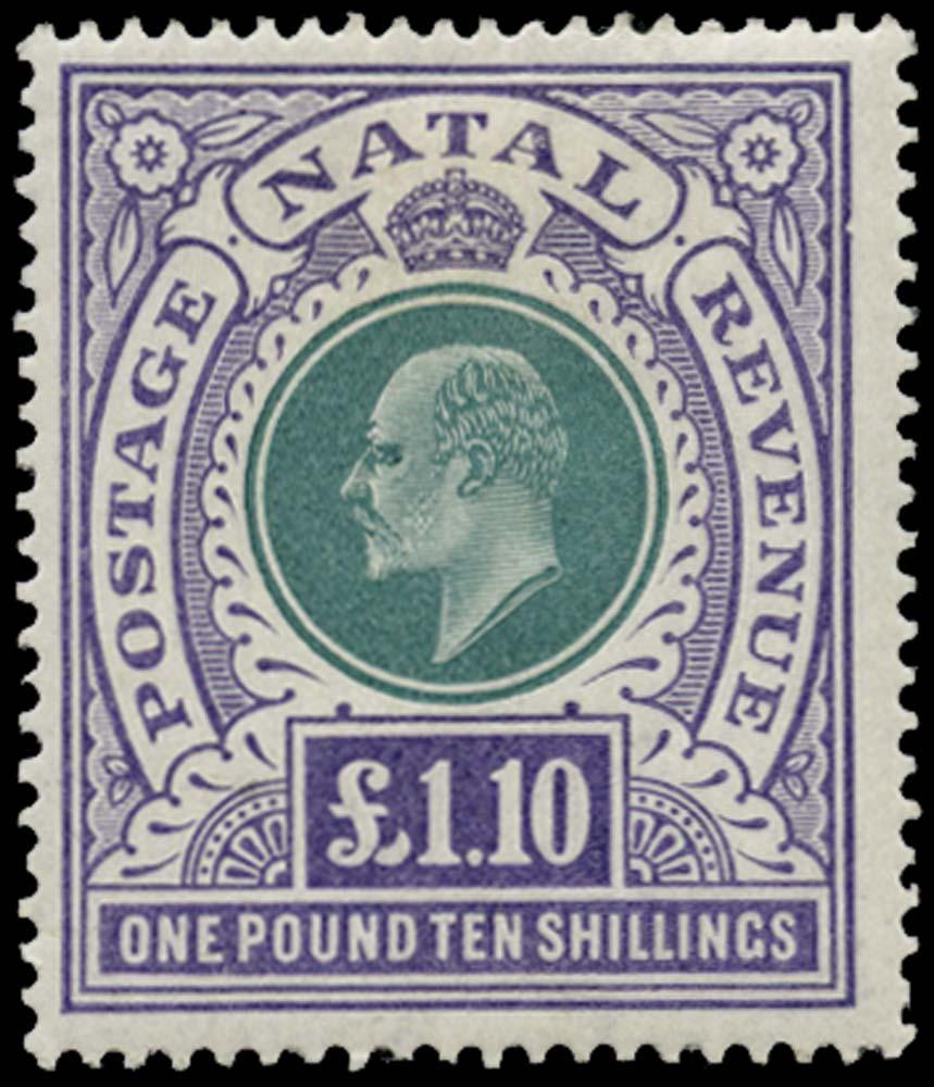 NATAL 1902  SG143 Mint £1 10s watermark CC