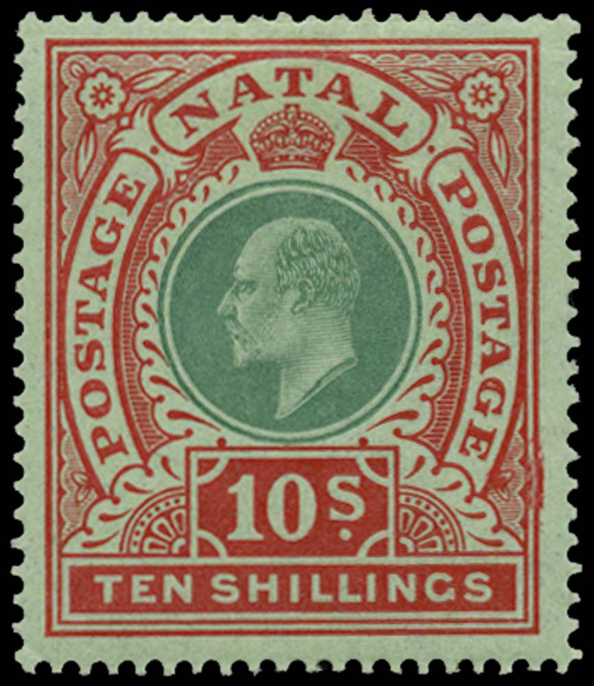 NATAL 1908  SG170 Mint 10s green and red on green