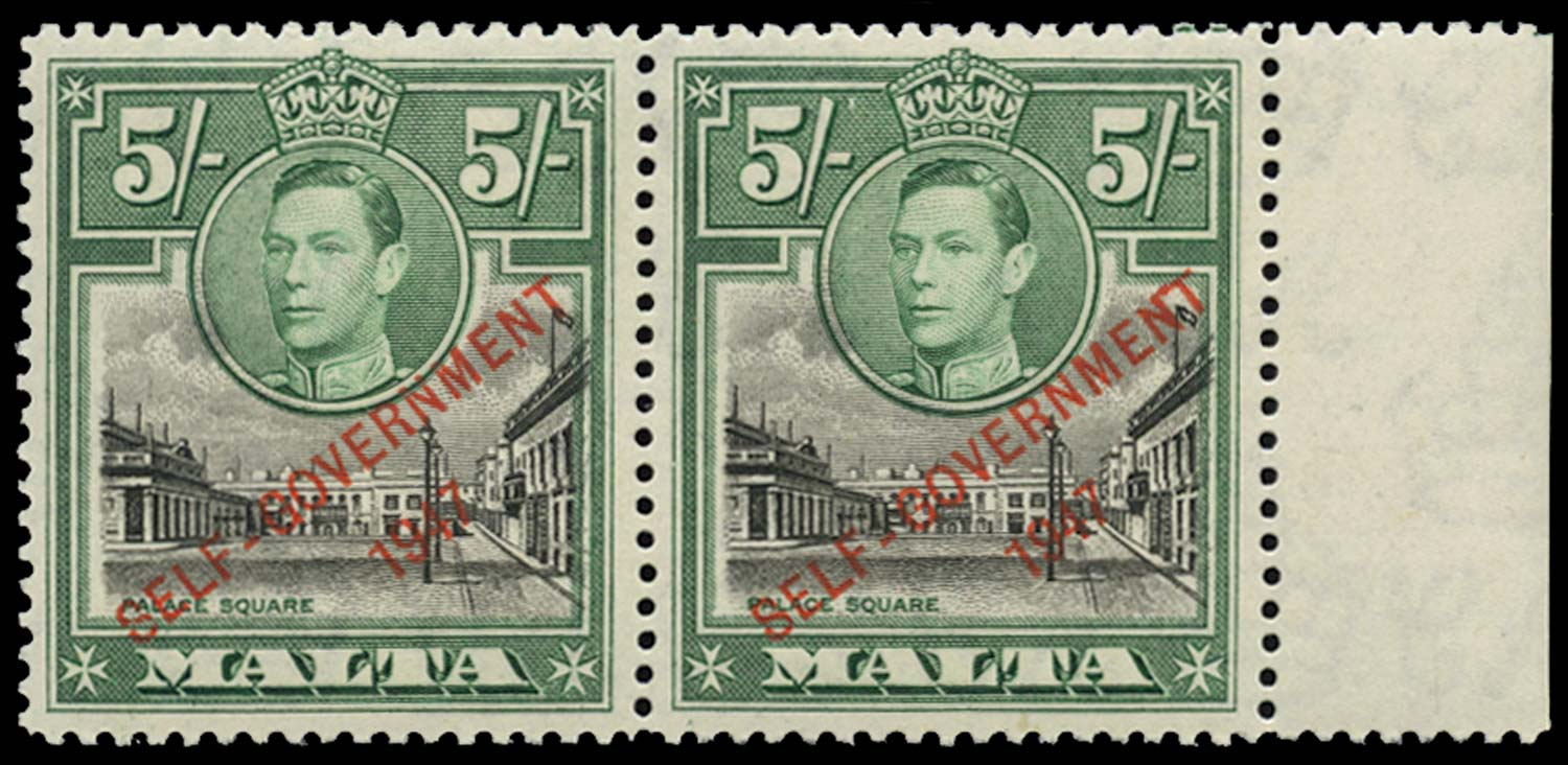 MALTA 1948  SG247/a Mint 5s NT joined